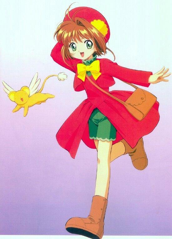 Sakura cardcaptor trajes abrigo rojo con lazo amarillo